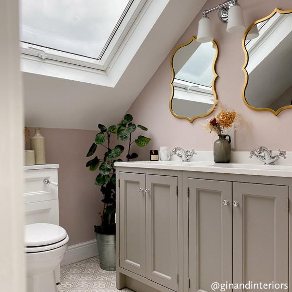 GinandInteriors bathroom - Plaster Pink walls