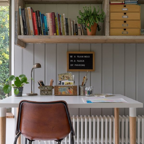 Desk with shelves, a chair and plants