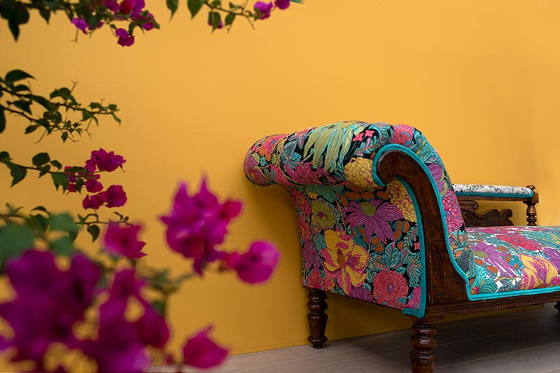 Gladio wall with multi coloured chaise in front and magenta bougainvillea