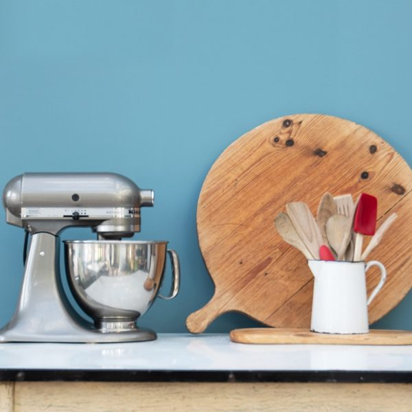 Deep Teal kitchen with kitchen utensils and accessories