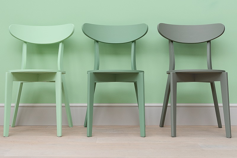 English pear wall with English Pear, Sage Green and Grey Green painted chair in front