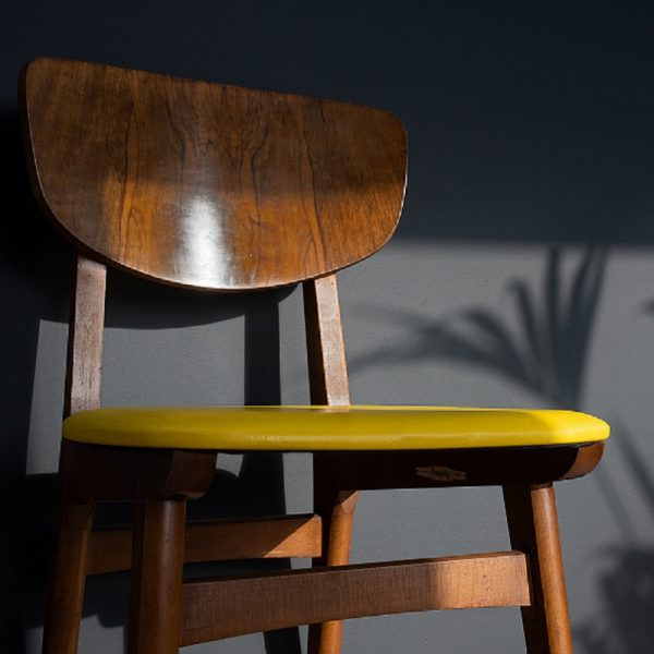 Graphite grey wall with shadows of leafy plants and a wooden chair with a yellow seat cushion