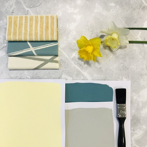 Yellows - Cavendish pairs beautifully with Peacock Blue and Pearl Grey. Complemented by Titley & Marr's Fabrics.