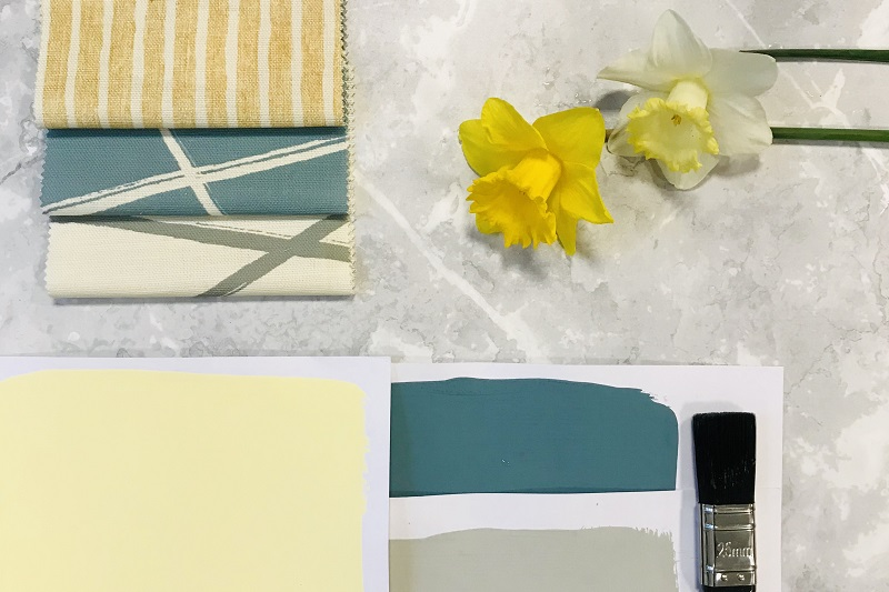 Yellow colour swatches and interior fabrics