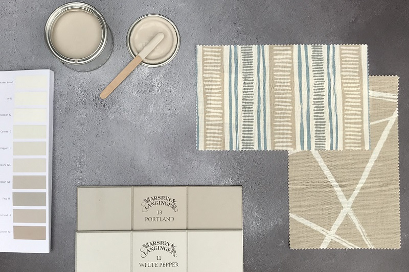 Scandinavian Style - Swatches of White Pepper and Portland are both enhanced with a little colour in Titley & Marr's fabric designs.