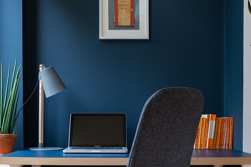 Smoke Blue Feature Wall & desk in an office space
