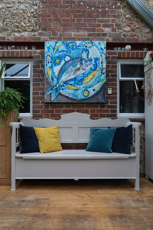 Bench in garden room in Exterior Eggshell