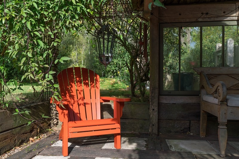 Burnt Orange Exterior Eggshell painted garden chair