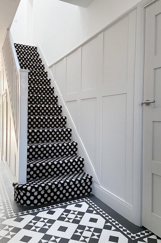 Limestone Hallway, patterned stairs