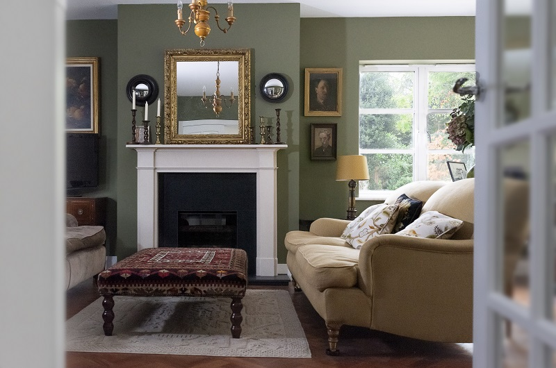 Kate Marr of Titley and Marr Olive Green living room