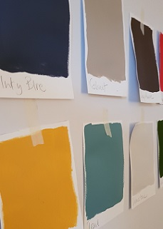 Colour Swatches taped to the wall