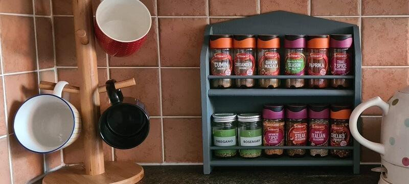 Slate Blue painted spice shelf
