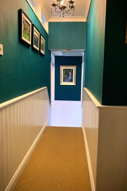 Hallway - After in Peacock Blue and Warm White