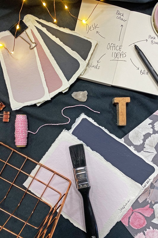 Home office inspiration - soft pink and dark greys