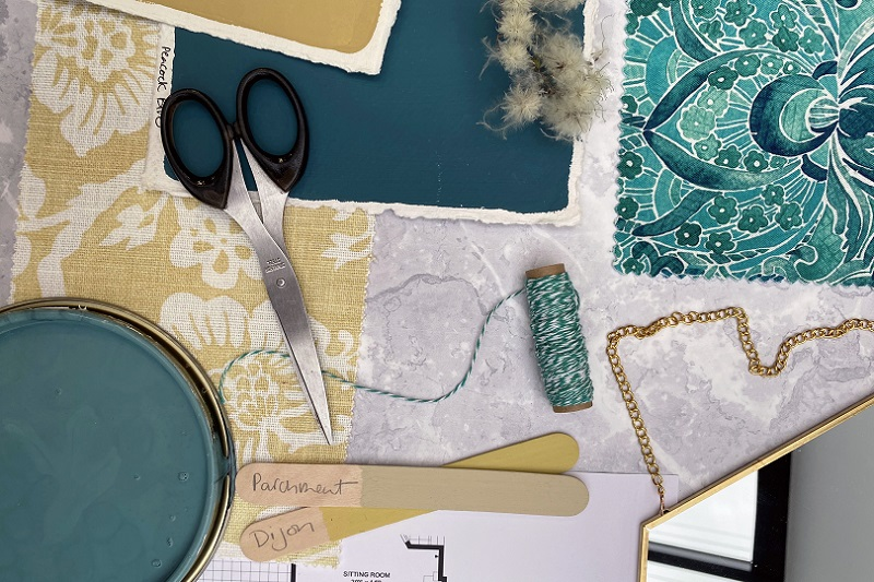 Earthy yellow and teal