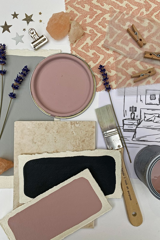 soft grey with blush pink tones for a bedroom idea