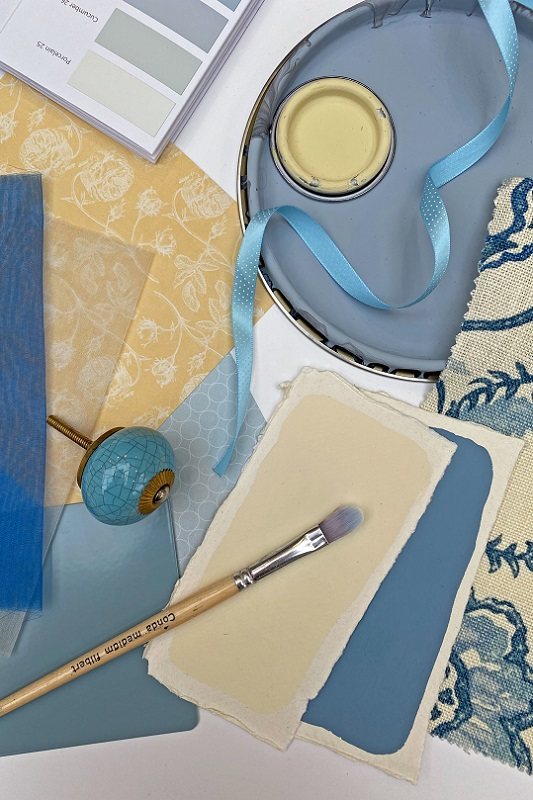 Pastel yellow and blue tones